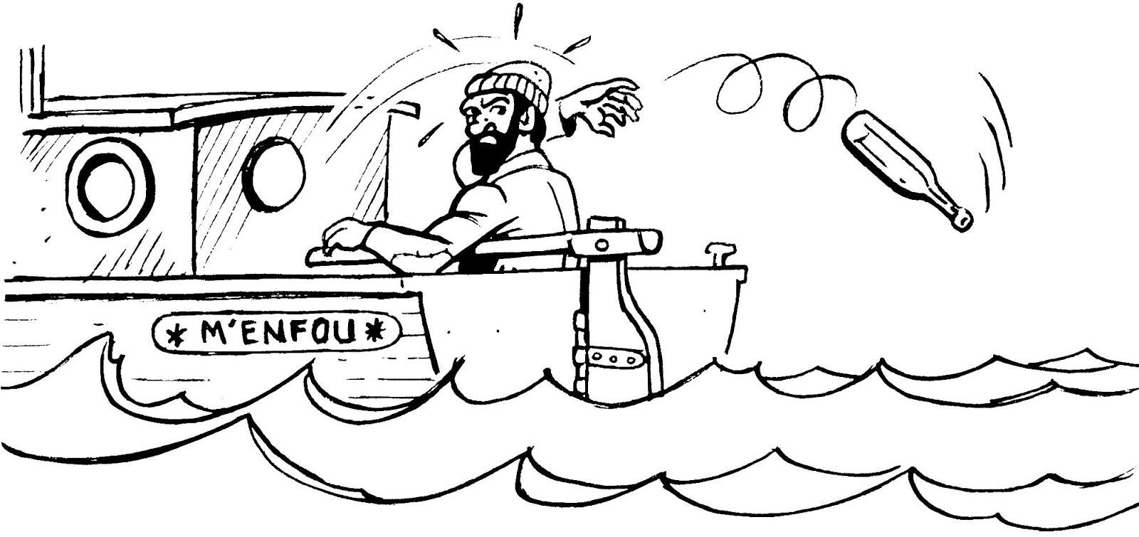 Dessin marin jetant une bouteille par dessu bord